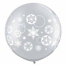 "Baloane latex Jumbo 30"" inscriptionate Snowflakes & Circles Silver, Qualatex 60282, set 2 buc"