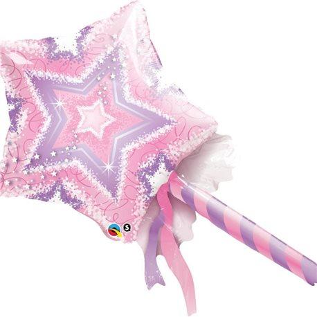 "Pink & Purple Magic Wand Mini Foil Balloons, Qualatex, 14"", 41925"