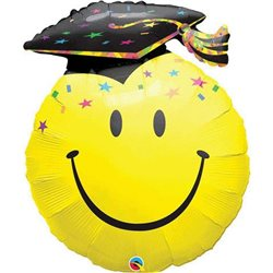 "Giant Smiley Face Graduation Balloon, Qualatex, 14"", 99855"
