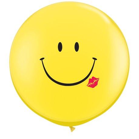 Baloane latex Jumbo 3' inscriptionate A Smile & A Kiss Yellow, Qualatex 28150, set 2 buc