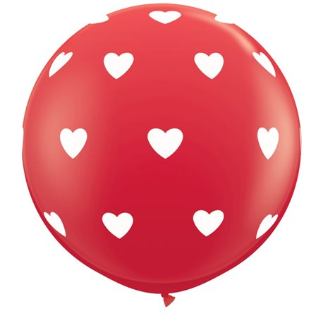 Baloane latex Jumbo 3' inscriptionate Big Hearts-A-Round Red, Qualatex 31089, set 2 buc
