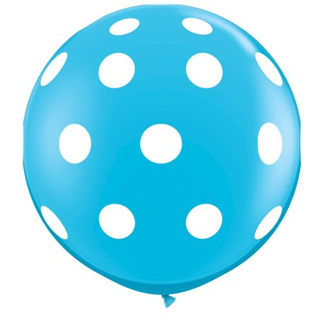Baloane latex Jumbo 3' inscriptionate Big Polka Dots-A-Round Robin's Egg Blue, Qualatex 26175, set 2 buc