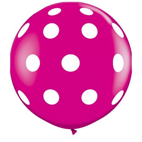 Baloane latex Jumbo 3' inscriptionate Big Polka Dots-A-Round Wild Berry, Qualatex 26172, set 2 buc