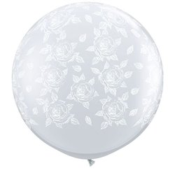 3' Printed Jumbo Latex Balloons, Elegant Roses-A-Round Diamond Clear, Qualatex 28178, Pack of 2 pieces