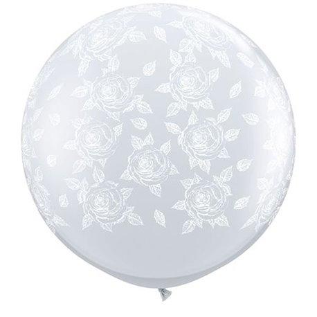 Baloane latex Jumbo 3' inscriptionate Elegant Roses-A-Round Diamond Clear, Qualatex 28178, set 2 buc