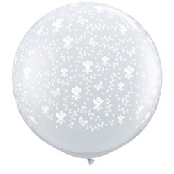 3' Printed Jumbo Latex Balloons,  Flowers-A-Round Diamond Clear, Qualatex 28153, Pack of 2 pieces