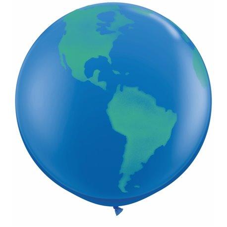 Baloane latex Jumbo 3' inscriptionate Globe Dark Blue, Qualatex 28160, set 2 buc