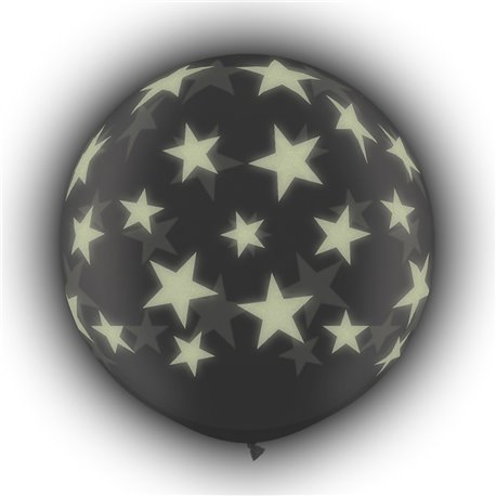 Baloane latex Jumbo 3' inscriptionate Glow Stars-A-Round Diamond Clear, Qualatex 28154, set 2 buc
