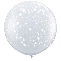 Baloane latex Jumbo 3' inscriptionate Stars-A-Round Diamond Clear, Qualatex 29264, set 2 buc