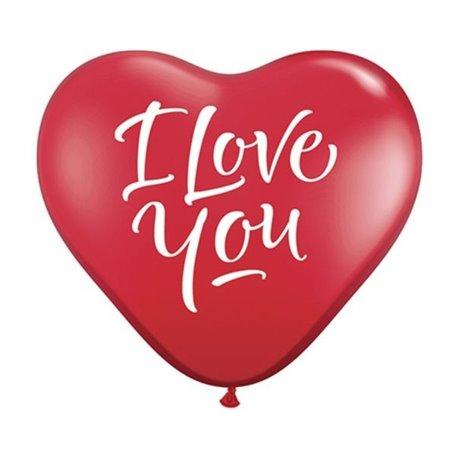 Baloane latex Jumbo Inima 3' inscriptionate I Love You Script Red, Qualatex 29509, set 2 buc