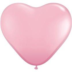 Baloane latex Jumbo Inima 3' Pink, Qualatex 44445, set 2 buc