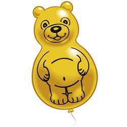 Yellow Teddy Figure Latex Balloons, Riethmuller RM48214, Pack Of 2 pieces