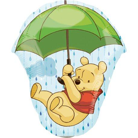 Balon Mini Folie Figurina Pooh cu Umbrela, 22324