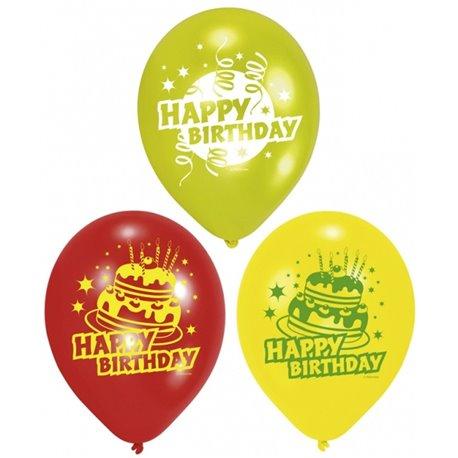 "Baloane latex 8"" inscriptionate Happy Birthday Asortate, Riethmuller 450193, set 6 buc"