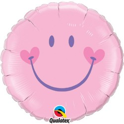 Pale Pink Smiley Face Balloon, 45 cm, 99573