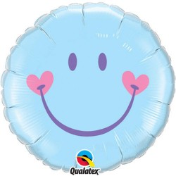 Sweet Smile Face Pale Blue Foil Balloon, 45 cm, 99576