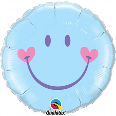 Sweet Smile Face Pale Blue Foil Balloon, 45 cm, 99576