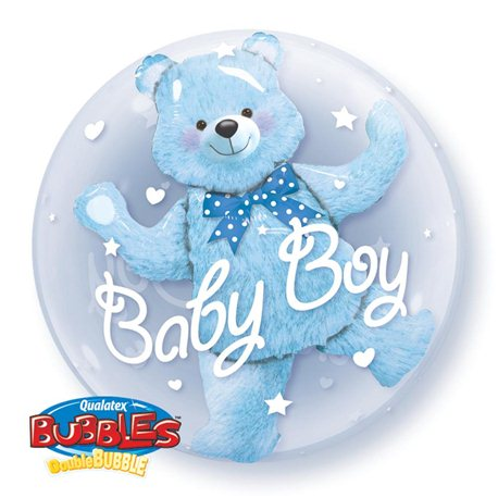 "Baby Boy Double Bubble Balloon, Qualatex, 24"", 29486"