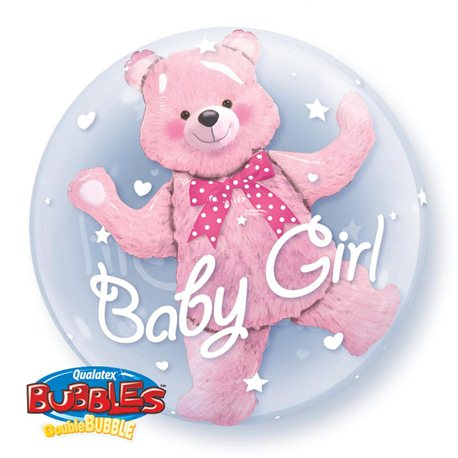Balon Double Bubble Baby Girl, Qualatex, 60 cm, 29488
