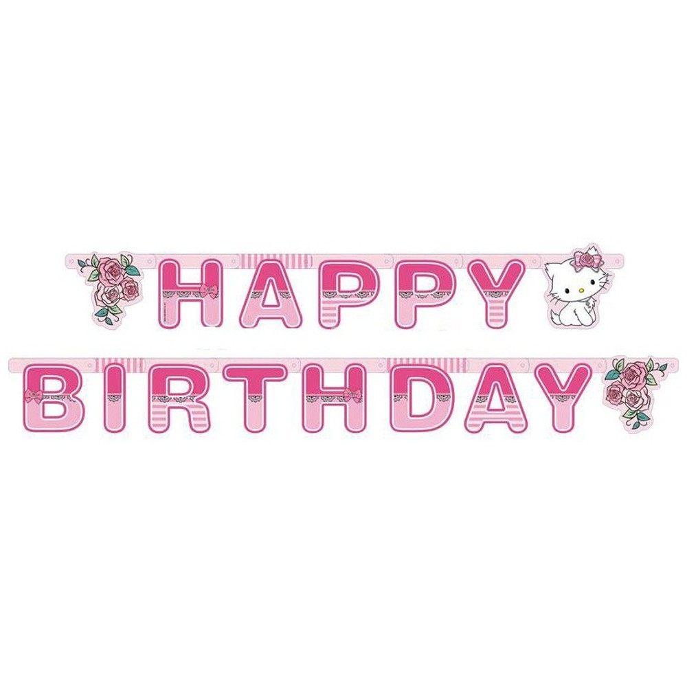 charmmy kitty happy birthday banner 18 m amscan 551732