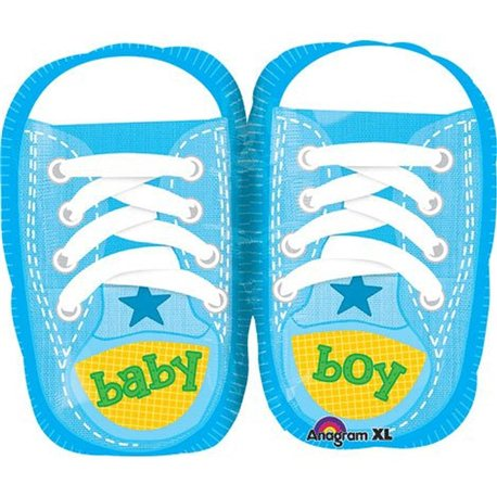 "Baby Boy Sporty Kicks Junior Shape Foil Balloons, Blue, Anagram, 18"", 28816"