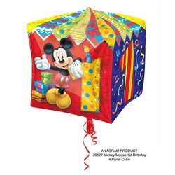 """Mickey Mouse Age 1 Cubez Foil Balloons, Anagram, 15"""", 28627"""
