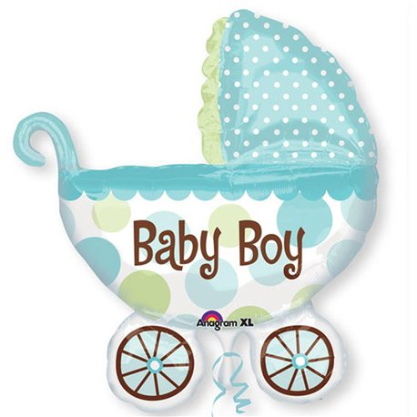 "Baby Buggy Boy Super Shaped Balloon, Anagram, 28"" x 30"", 17952"