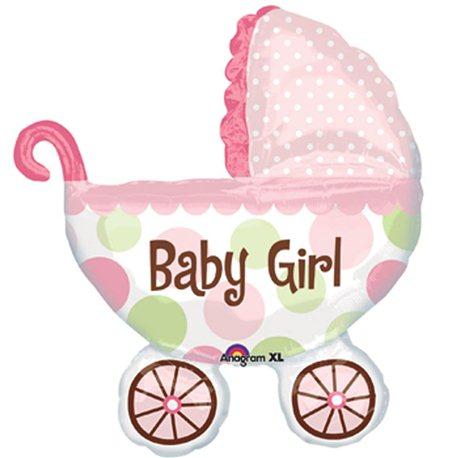 "Baby Girl Buggy SuperShape Foil Balloon, Anagram, 28"" x 31"", 17896"