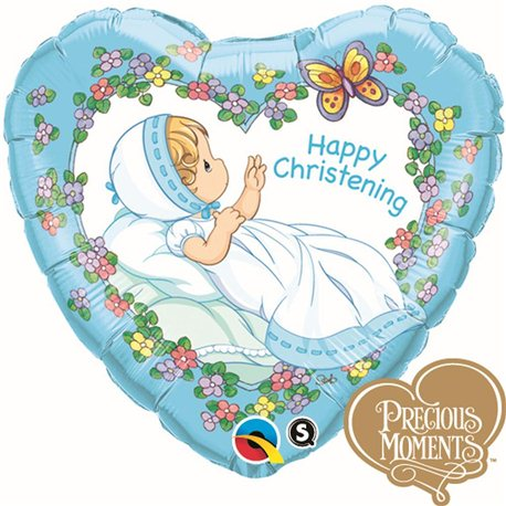 "Heart Happy Christening Boy Foil Balloon, Qualatex, 18"", 36454"