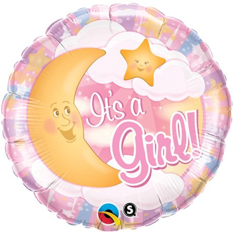 Balon Folie It's A Girl Luna, Qualatex, 45 cm, 28834