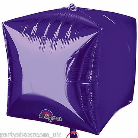 Birthday Party Cube Shaped Foil Balloon 3D Purple, 45 cm, 01015