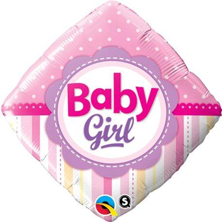 Balon Folie Patrata Baby Girl cu Buline si Dungi, Qualatex, 45 cm, 14400