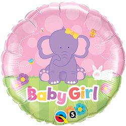 Balon Folie Baby Girl Elefantel, Qualatex, 45 cm, 13929