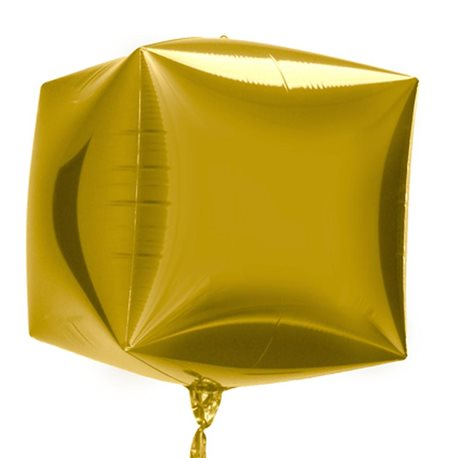 Large Cube Helium Balloon 3D Gold, 45 cm, 01011