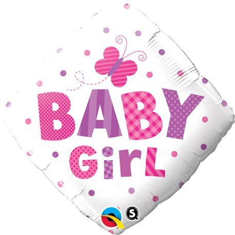 Balon Folie Patrata Baby Girl Fluture, Qualatex, 45 cm, 14659
