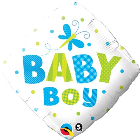 Balon Folie  Patrata Baby Boy Fluture, Qualatex, 45 cm, 14666