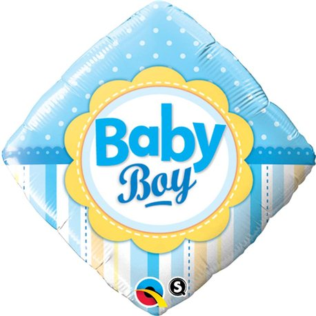 Balon Folie Patrata Baby Boy cu Buline si Dungi, Qualatex, 45 cm, 14637