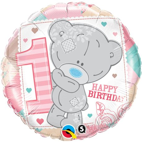 Balon Folie 1st Birthday Teddy Bear Girl, Qualatex, 45 cm, 20776