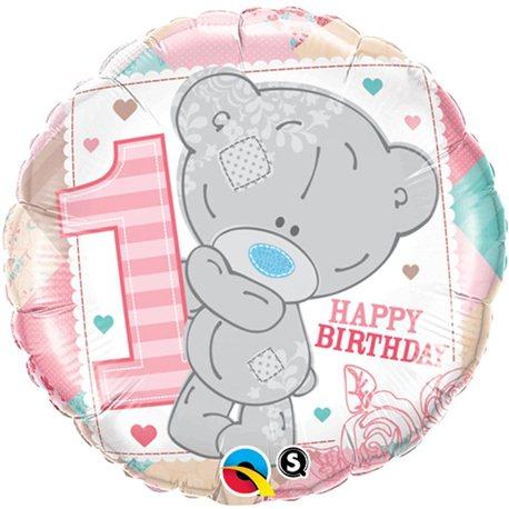 "Teddy 1st Birthday Girl Foil Balloon, Qualatex, 18"", 20776"