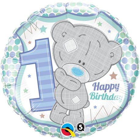 Balon Folie 1st Birthday Teddy Bear Boy, Qualatex, 45 cm, 20788