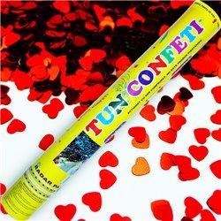 Tun de confetti 40 cm cu inimioare rosii, Radar TUN.8240.RH, 1 buc