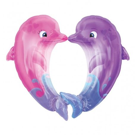 Kissing Dolphins Foil Balloon, 11834