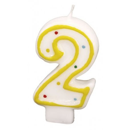 Polka Dots Birthday Candle Number 2 White Yellow Amscan Rm550282 1 Piece