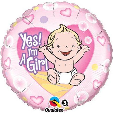 Balon Folie Yes! I'm a Girl, Qualatex, 45 cm, 86890