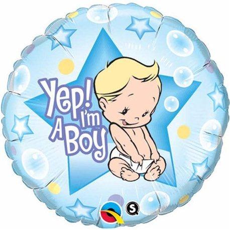 Balon Folie Yep! I'm a boy, Qualatex, 45 cm, 86885