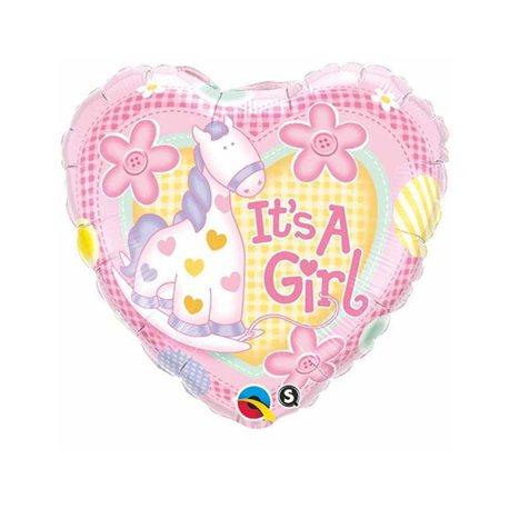 "It's a Girl Soft Pony Balloon, Qualatex, 18"", 91297"