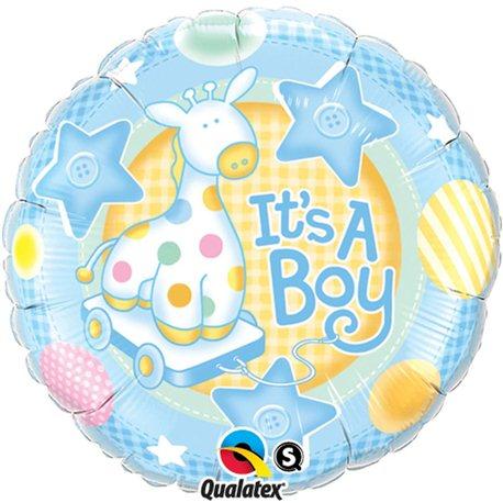 "It's a Boy Soft Giraffe Foil Balloon, Qualatex, 18"", 91299"