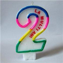 """Lumanare aniversara pentru tort, Cifra 2 cu mesajul """"La multi ani!"""", Radar SMFIT.LMA2, 1 buc"""