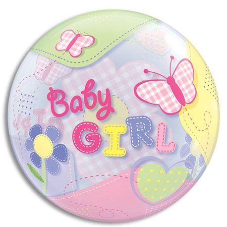 Balon Bubbles Fluturi Baby Girl, Qualatex, 55 cm, 69729