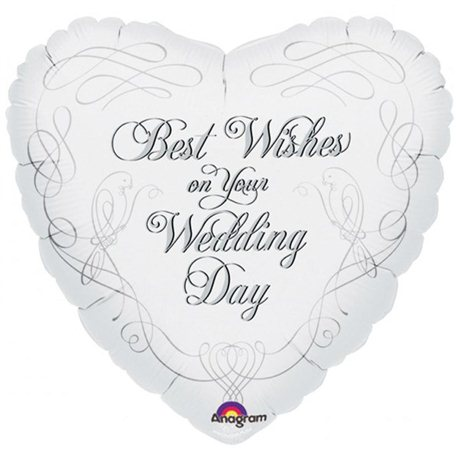 Balon Folie Best Wishes on Your Wedding Day, Anagram, 45 cm, 13686